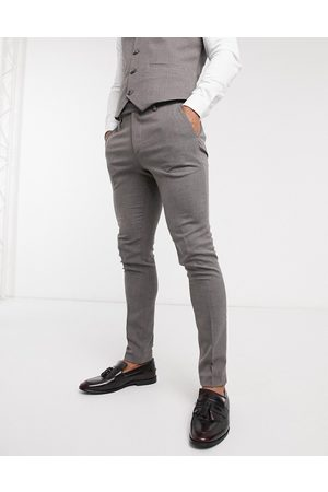 ASOS Wedding super skinny suit trousers in charcoal micro texture-Grey