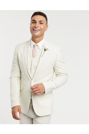 ASOS Muži Saka - Wedding super skinny suit jacket in stone micro texture-Neutral