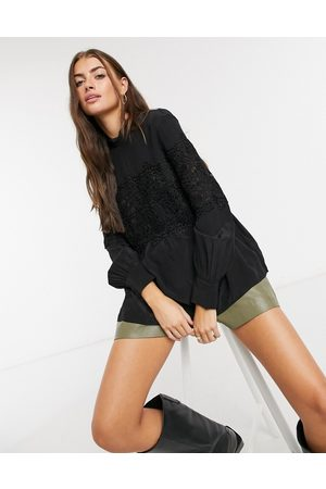 & OTHER STORIES Embroidered panel blouse in black
