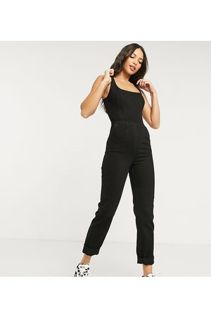 ASOS ASOS DESIGN Tall denim square neck fitted jumpsuit in washed black