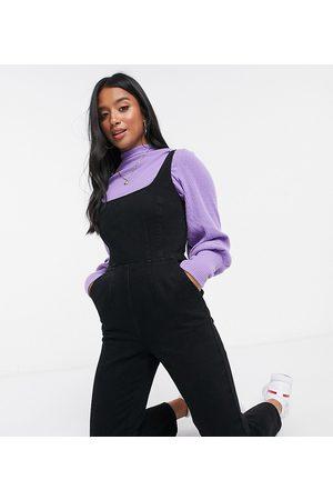 ASOS ASOS DESIGN Petite denim square neck fitted jumpsuit in washed black