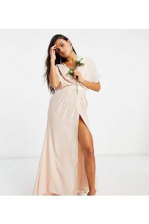 ASOS ASOS DESIGN Petite Bridesmaid short sleeved cowl front maxi dress with button back detail-Pink