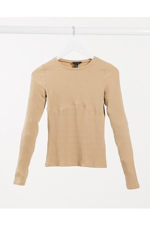 New Look Seam ribbed top in camel-Beige