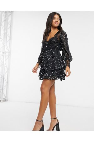 ASOS DESIGN Soft mini skater dress in polka dot with eyelash lace details-Multi