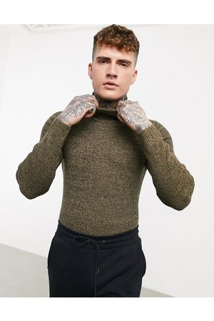 ASOS Muži Kardigany - Muscle fit ribbed roll neck jumper in tan