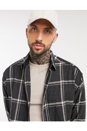 ASOS 90s oversized wool rich shirt in black and white large scale check