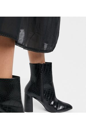 Raid Wide Fit Meadow heeled ankle boots in black croc