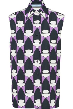 Prada Geometric-print sleeveless shirt