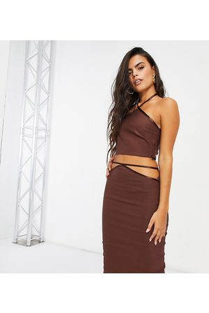 Vesper Petite Halterneck crop top in chocolate-Brown