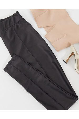 ASOS Hourglass leather look legging with pintuck in black
