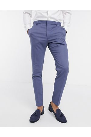 ASOS Wedding super skinny suit trousers with micro texture in mid blue