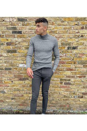 ASOS Muži Chino - Tall super skinny smart trouser in charcoal-Grey