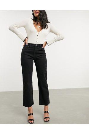 ASOS Ženy S vysokým pasem - High rise stretch 'effortless' crop kick flare jeans in black