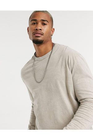 ASOS Relaxed long sleeve t-shirt with beige acid wash