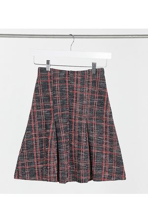 ASOS ASOS DESIGN Tall boucle pleat mini skirt in black and red check-Multi