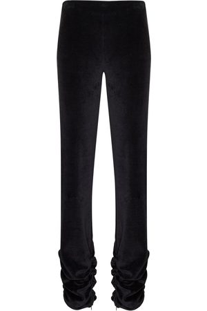 DANIELLE GUIZIO Ruched-detailing velvet-effect leggings