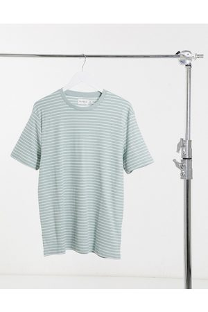 Topman Stripe t-shirt in sage and white-Green