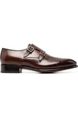 santoni Leather double-buckle shoes