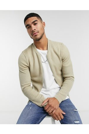 ASOS Muži Bombery - Knitted basket stitch bomber jacket in oatmeal-Beige