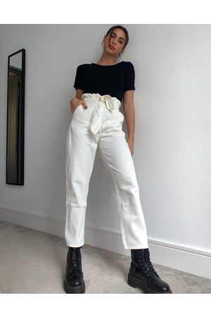 & OTHER STORIES Odette belted tapered jean in off white-Cream