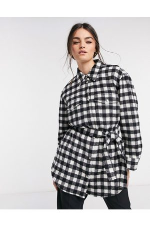 & OTHER STORIES Check gingham longline belted shacket in black-Multi