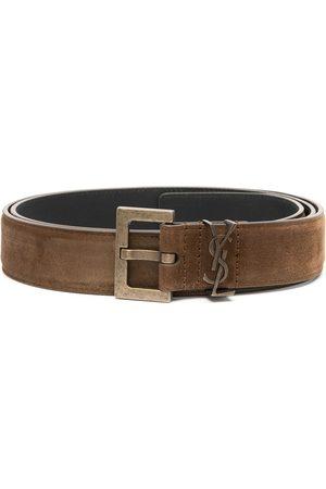 Saint Laurent Muži Pásky - Square-buckle logo belt