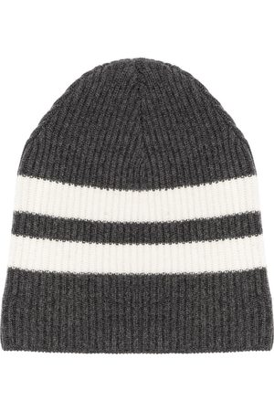 Cashmere In Love Striped ribbed-knit beanie