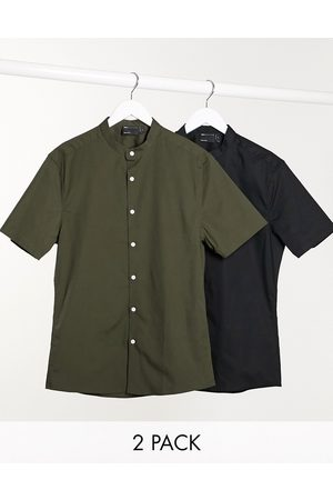 ASOS 2 pack skinny fit shirt with grandad collar in khaki/black save-Multi