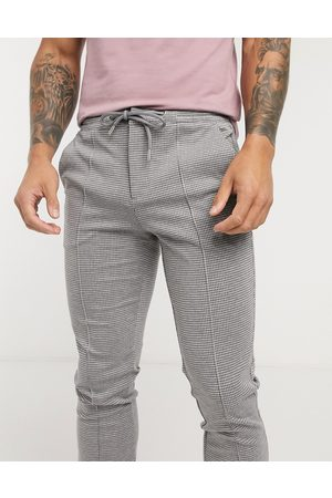 River Island Check joggers in grey