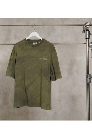 COLLUSION Oversized t-shirt with logo print in wash-Multi