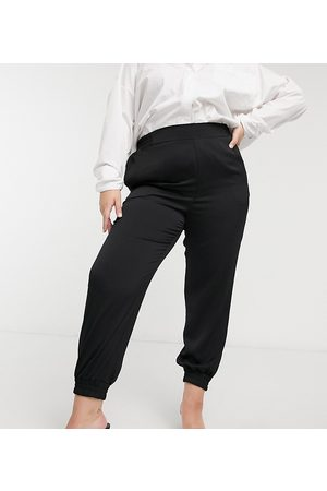 River Island Tailored crepe jogger trousers in black