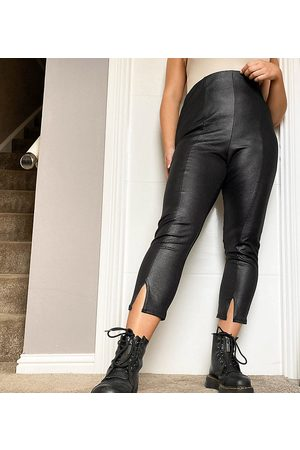 Yours Faux leather trousers with split hem in black