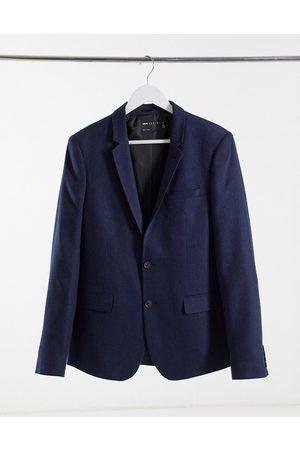 ASOS Wedding skinny wool mix suit jacket in navy herringbone
