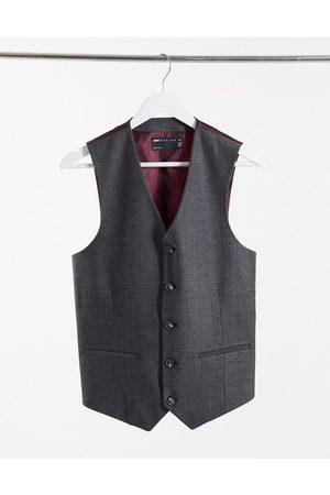 ASOS Wedding skinny wool mix suit waistcoat in charcoal herringbone-Grey