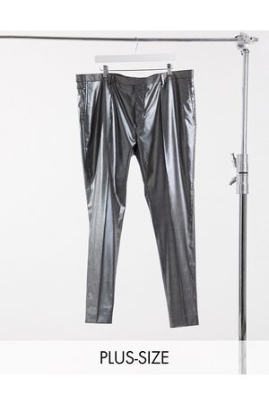 Twisted Tailor PLUS skinny trousers with silver pinstripe in black