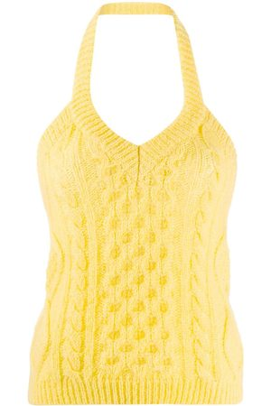 LANEUS Cable knit halterneck top