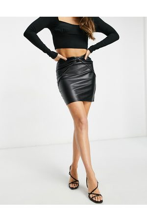 ASOS Leather look mini skirt with knot front waist detail in black
