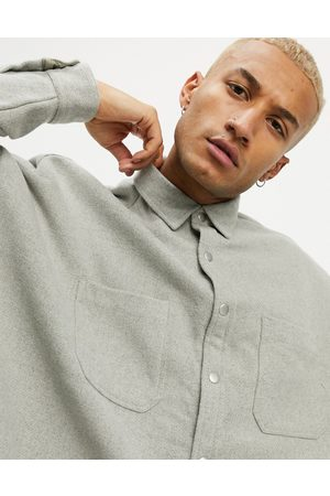 ASOS Extreme oversized wool mix shirt in grey marl