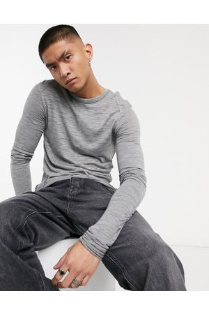 ASOS Muscle longline super long sleeve t-shirt in grey textured fabric