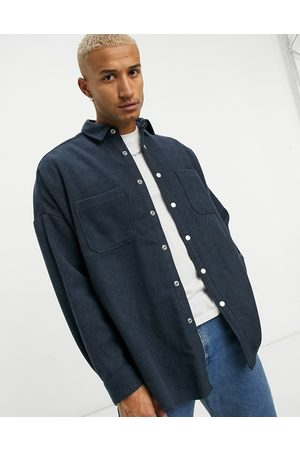 ASOS Extreme oversized wool mix shirt in blue
