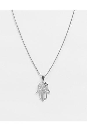 Aura By Calum Best hamsa hand necklace-Silver
