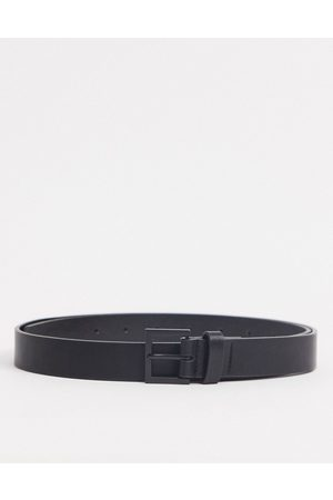 ASOS Skinny belt in black faux leather with matte black buckle
