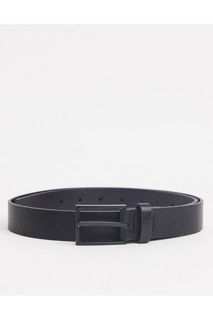ASOS Slim belt in black faux leather with matte black buckle detail
