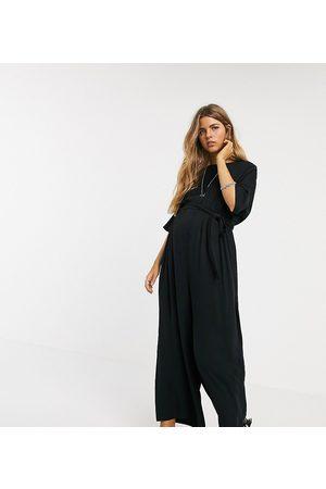 ASOS ASOS DESIGN maternity lounge tie waist jumpsuit in black