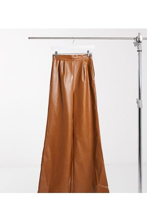 NaaNaa Faux leather wide leg trousers in tan