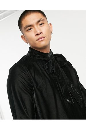 ASOS Regular fit velvet shirt with pussybow neck tie in black