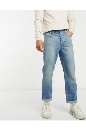ASOS Straight crop jean in light vintage japanese wash with tint-Blue
