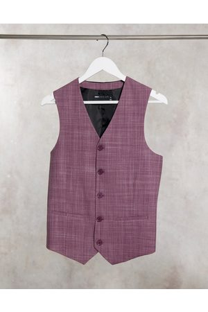 ASOS Wedding skinny suit waistcoat in burgundy crosshatch-Red