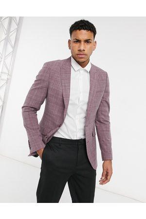 ASOS Wedding skinny suit jacket in burgundy crosshatch-Red