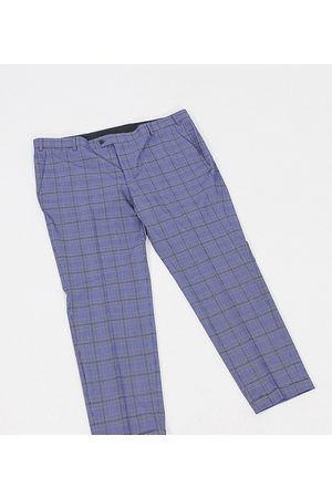 Jack & Jones Premium Plus super slim fit smart check trousers in blue